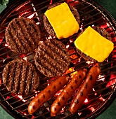 Hamburgers, Cheeseburgers and Hot Dogs on a Grill; From Above