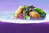 Zander dumplings with colourful salad