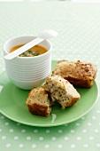 Mini mustard bread and soup
