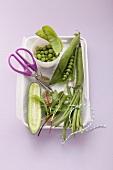 Fresh vegetables (peas, cucumber, beans and lettuce leaves)