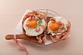 Ham and eggs on toast with North Sea prawns