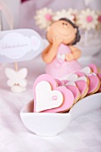 Heart-shaped butter biscuits with white and pink glaze