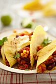 Tacos with beans, sweetcorn and cheese