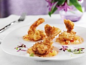 Coconut Crusted Tiger Shrimp with Sweet and Sour Sauce and Micro Greens
