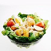 Fast Food Chicken Caesar Salad in a Plastic Container; White Bowl