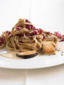 Tagliatelle with porcini mushrooms and radicchio