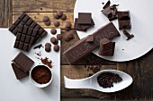 Chocolate pieces, cocoa powder and chocolate balls