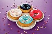 Vier Doughnuts mit bunter Glasur und Zuckerstreuseln