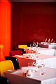 A colourful dining room in a restaurant