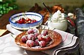 Baked cherries with cinnamon cream