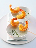 Cucumber soup with prawn kebabs