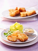 Fish kebabs with remoulade