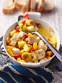 Fish curry with pineapple, bananas and pepper