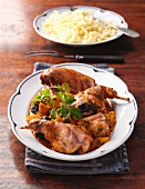 Chicken with pumpkin and spätzle (soft egg noodles from Swabia)