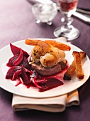 Surf & Turf with a beetroot salad