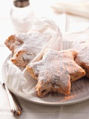 Stollen stars dusted with icing sugar