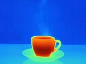 An infra red picture of a hot cup of coffee