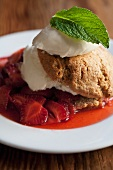 Strawberry Shortcake with Mint Leaf