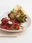 Cured beef fillet with mushrooms