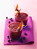 Blueberry smoothie with peach
