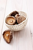 A bowl of dried shiitake mushrooms