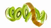 Kiwi slices and kiwi peel