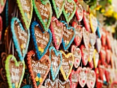 Gingerbread hearts on a market stand