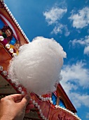A hand holding candy floss at a fair