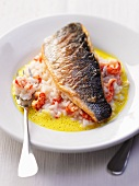 Bass on a crab risotto with saffron sauce