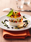 Goat's cheese and vegetable timbale
