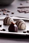 Chocolate pralines with light and dark chocolate