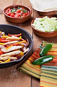 Chicken Fajita Skillet with Toppings; Jalapeno