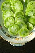 Platter of Fresh Sliced Green Tomatoes