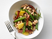 Bean salad with bacon and potatoes