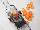 Carrot slices with a slicer