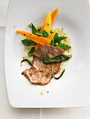 Veal escalope with sage, carrots and mange tout