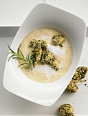 Polenta soup with breaded mushrooms