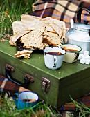 Picknick im Herbst mit Kuchen & Heissgetränk auf Picknickkoffer