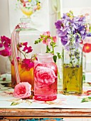 Home-made syrup made with assorted edible flowers