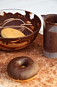 Two doughnuts with and without chocolate glaze