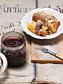 Shredded pancakes with elderberry compote