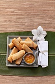 Spring rolls with a chilli dip (Asia)
