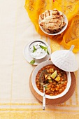 Lentil soup with yogurt and unleavened bread (India)