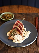Seared and Sliced Tuna in a Caper Cream Sauce