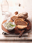 Nut bread with herb butter