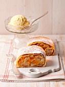 Fruit strudel with vanilla ice cream