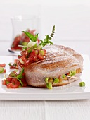 Stuffed tuna fish steak with tomato salsa