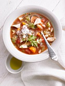 Minestrone with chicken and Parmesan