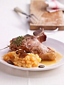 Stuffed veal chop with mashed pumpkin and truffles