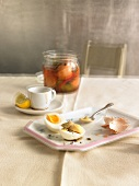 Pickled eggs and espresso with lemons - hangover breakfast